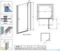 Radaway Torrenta DWJ drzwi wnękowe 100 prawe szkło przejrzyste rysunek techniczny