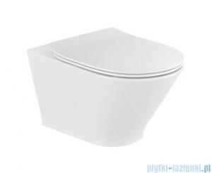 Roca Gap Round Rimless miska WC wisząca + deska wolnoopadająca Slim A34H0N8000