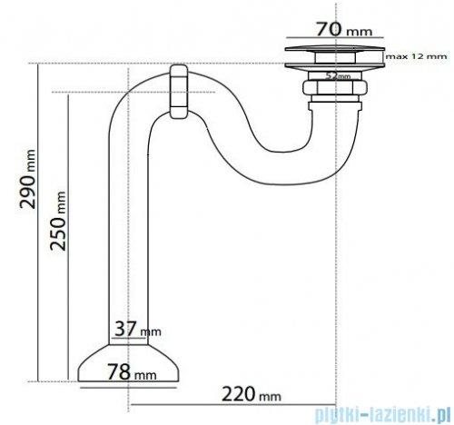 Besco odpływ wannowy z korkiem klik-klak mosiądz S20
