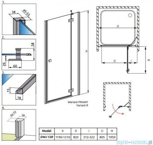 Radaway Almatea DWJ Drzwi wnękowe 120 Prawe szkło grafitowe 31502-01-05N