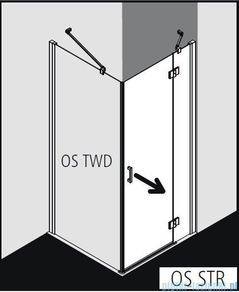 Kermi Osia Kabina prysznicowa 1 skrzydłowa prawa, szkło przezroczyste 90x90 cm OSSTR09020VPK/OSTWD09020VPK