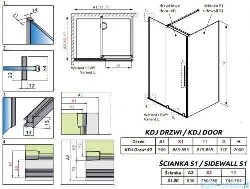 Radaway Furo Gold Kdj kabina 90x80cm lewa szkło przejrzyste 10104472-09-01L/10110430-01-01/10113080-01-01