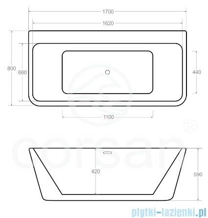 Corsan Iseo wanna wolnostojąca przyścienna 170x80 cm biała + syfon klik-klak rysunek techniczny