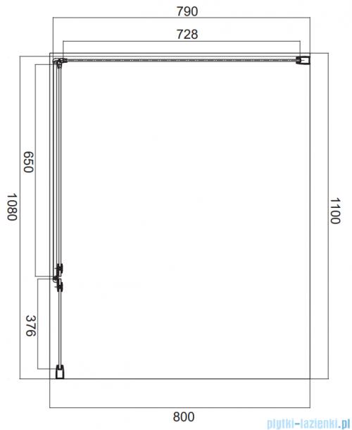 Omnires Manhattan kabina prostokątna 110x80cm szkło przejrzyste MH1180CRTR