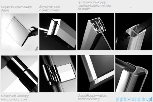 Radaway Kabina prysznicowa Almatea KDJ+S 90x80x90 prawa szkło przejrzyste + brodzik Doros D + syfon 31555-01-01R1/31555-01-01R2