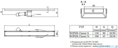 Wiper Odpływ liniowy Classic Mistral 100cm bez kołnierza poler M1000PCS100