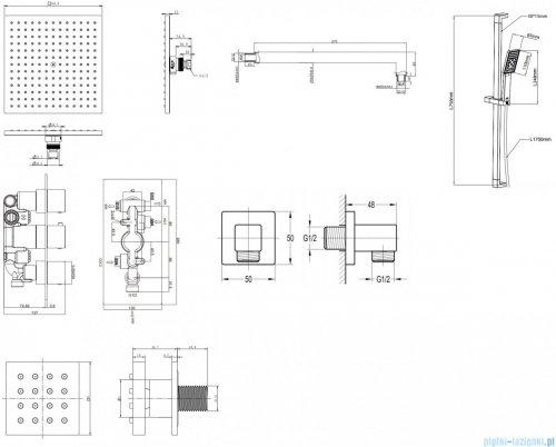 Omnires Fresh kompletny łazienkowy system podtynkowy termostatyczny rysunek technioczny
