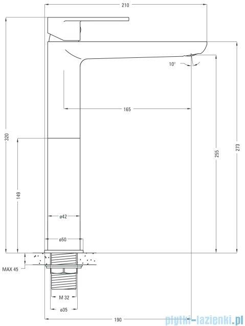 Deante Alpinia bateria umywalkowa stojąca z podwyższonym korpusem chrom BGA 021K