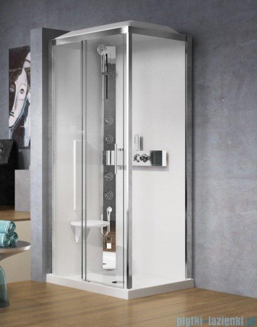Novellini Glax 3 kabina prysznicowa z hydromasażem 120x90 lewa srebrny GL32P299ST1-1B