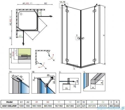 Radaway Fuenta New Kdd kabina 100x90cm szkło przejrzyste 384062-01-01L/384060-01-01R