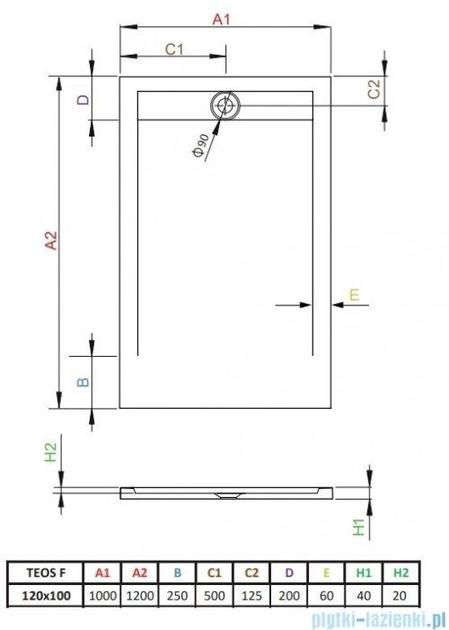 Radaway Teos F brodzik 120x100cm cemento HTF120100-74