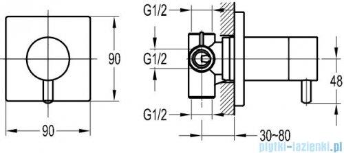 Omnires Y przełącznik podtynkowy 3-wyjściowy chrom Y1263/KCR