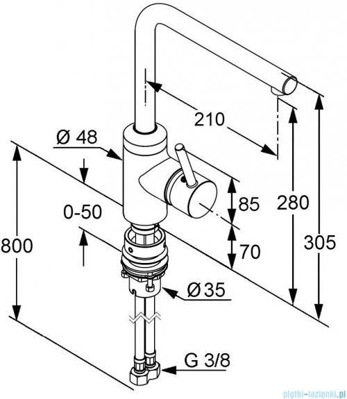 Kludi L-Ine Jednouchwytowa bateria kuchenna Bajonett DN 10 chrom 428170577