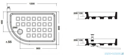 Kerasan Brodzik półokrągły 80x120 Retro lewy 1333