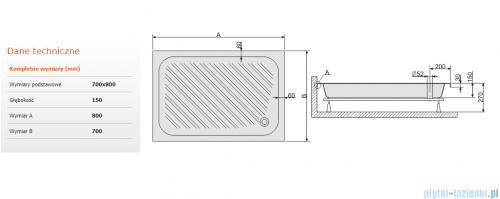 Sanplast Classic brodzik prostokątny 80x70x15cm+stelaż 615-010-0310-01-000