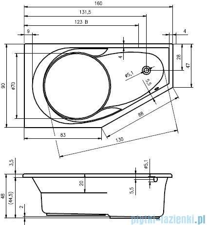 Riho Yukon wanna asymetryczna 160x90cm prawa nóżki+syfon BA34/09/AMC55
