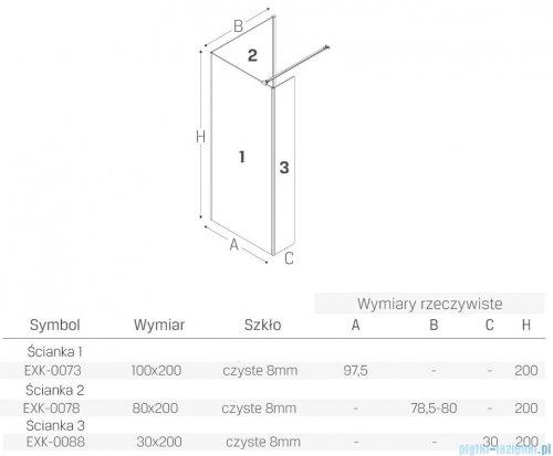New Trendy New Modus Black kabina prostokątna Walk-In 100x80cm przejrzyste EXK-0073/EXK-0078/EXK-0088