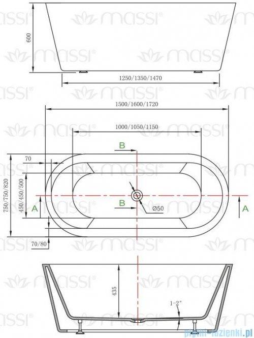 Massi Thermo 150 wanna wolnostojąca 150x75cm biała + syfon MSWA812150