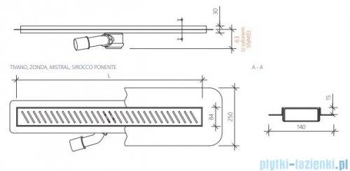 Wiper New Premium Tivano Odpływ liniowy z kołnierzem 80 cm poler 100.1968.01.080