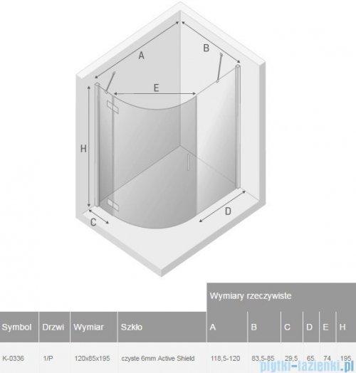 New Trendy New Merana kabina asymetryczna 120x85x195cm prawa przejrzyste K-0336