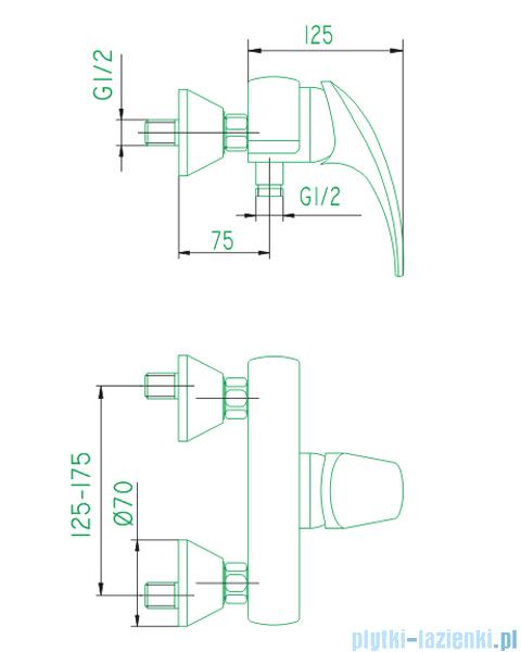 KFA AMETYST bateria natryskowa CHROM   406-010-00