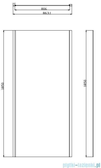 Omnires Bronx kabina prysznicowa 80x90x185cm przejrzysta S20A380+10P90