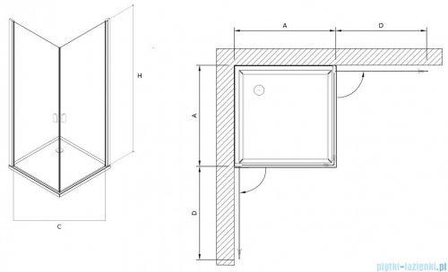 Clusi Atena kabina kwadratowa 90x90x200 cm przejrzyste 3329ATE90
