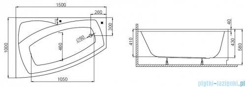 Polimat Frida wanna asymetryczna 150x100 lewa + obudowa + syfon 00974/00361/19975