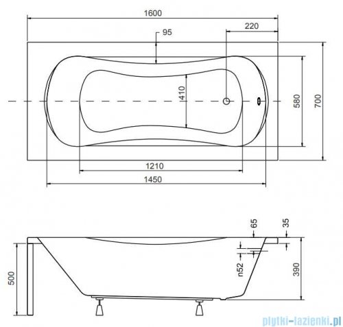 Besco Aria Plus 160x70cm wanna prostokątna z uchwytami + obudowa + syfon #WAA-160-PU/#OAA-160-PA/19975