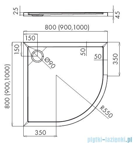 Schedpol Corrina New brodzik półokrągły z SafeMase 80x80x4cm 3.4333