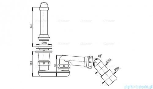 Alcaplast spust brodzikowy z syfonem Ø52 i kolanem, sitko nierdzewne A462-50