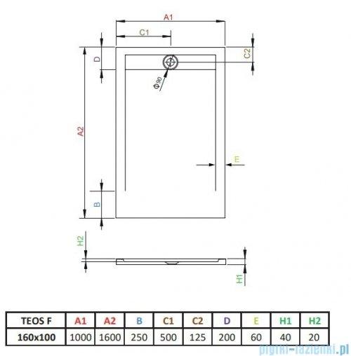 Radaway Teos F brodzik 160x100cm antracyt HTF160100-64