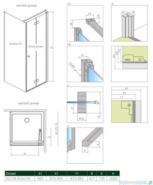Radaway Nes Black KDJ B drzwi 90cm prawe przejrzyste 10025090-54-01R
