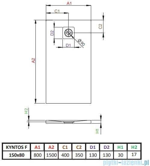 Radaway Kyntos F brodzik 150x80cm biały rysunek techniczny