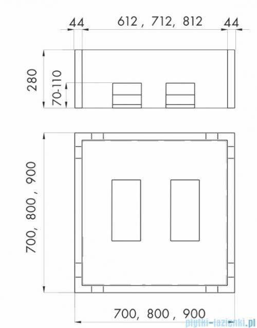Schedpol nośnik styropianowy do brodzika stalowego kwadratowego 80x80x28cm 2.002