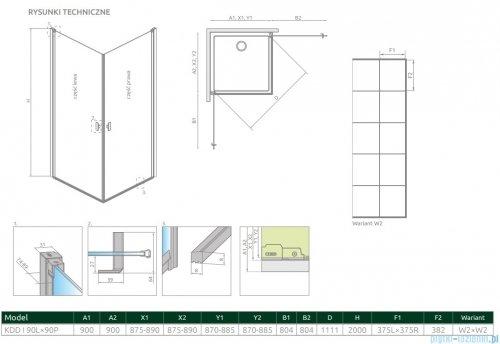 Radaway Nes Black Kdd I Factory kabina 90x90cm rysunek techniczny