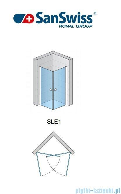 SanSwiss Swing-Line Sle1 Wejście narożne jednoczęściowe 90cm profil srebrny szkło przejrzyste Lewe SLE1G09000107