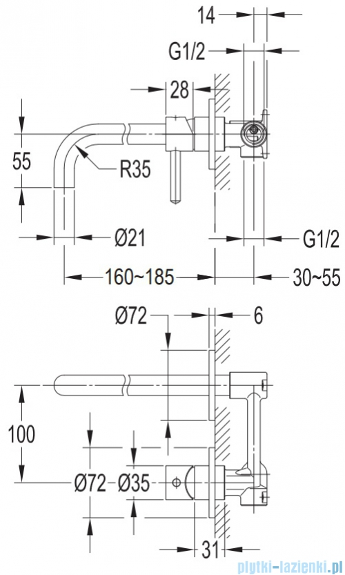 Omnires Y bateria umywalkowa podtynkowa chrom Y1215HCR