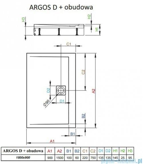 Radaway Argos D Brodzik prostokątny 150x90x14,5cm + nogi 4ADN915-02