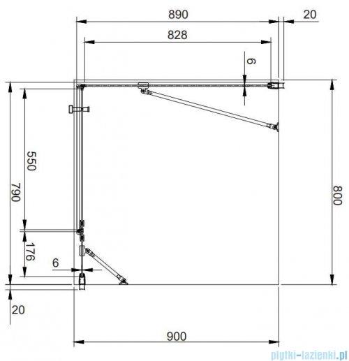 Omnires Manhattan kabina prostokątna 80x90cm szkło przejrzyste MH8090CRTR