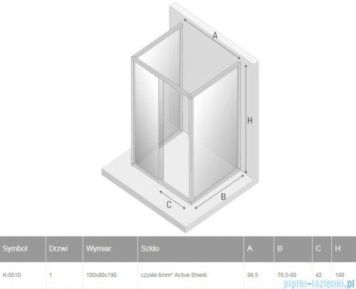 New Trendy New Varia kabina trójścienna 100x80x190 cm przejrzysta rysunek techniczny