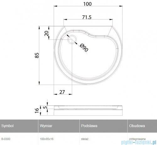 New Trendy Rondo brodzik przyścienny zintegrowany 100x85x16 cm B-0300