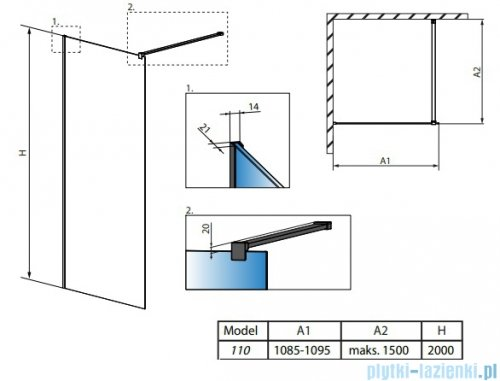 Radaway Modo X Black II Frame kabina Walk-in 110x200 szkło 10mm 389314-54-56