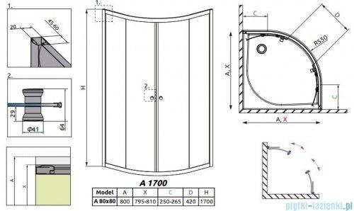 Radaway Classic A Kabina prysznicowa półokrągła z drzwiami przesuwnymi 80x80x170 szkło brązowe 30011-01-08