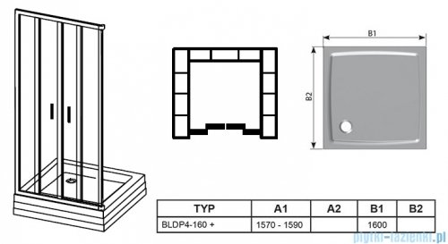 Ravak Blix BLDP4 drzwi prysznicowe 160cm białe grape Anticalc 0YVS0100ZG