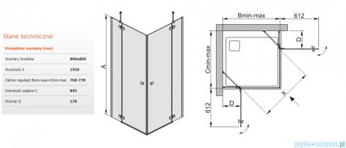 Sanplast kabina narożna kwadratowa KN4/FREE-80 80x80x195 cm przejrzyste 600-260-0200-42-401