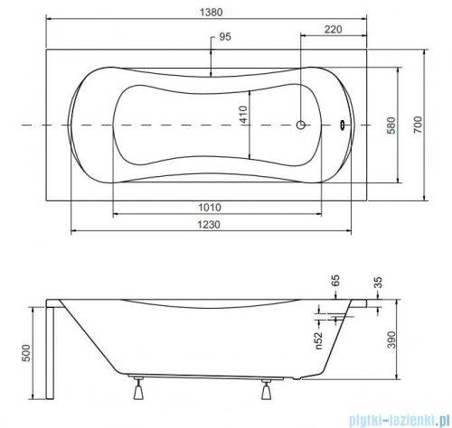 Besco Aria 140x70cm wanna prostokątna + obudowa + syfon #WAA-140-PA/#OAA-140-PA/19975