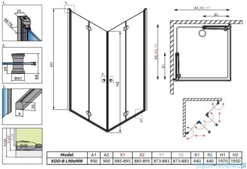 Radaway Eos KDD-B kabina prysznicowa 90x90 szkło przejrzyste 37303-01-01N