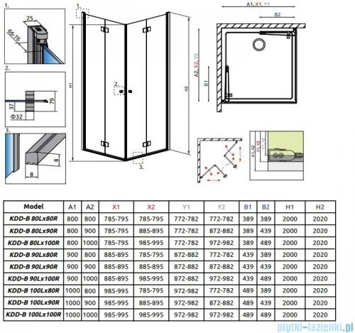Radaway Essenza New Kdd-B kabina 90cm część lewa szkło przejrzyste 385071-01-01L