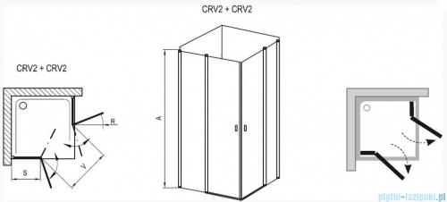 Ravak Chrome Kabina prysznicowa narożna, jedna połowa CRV2-80 biała+transparent 1QV40100Z1